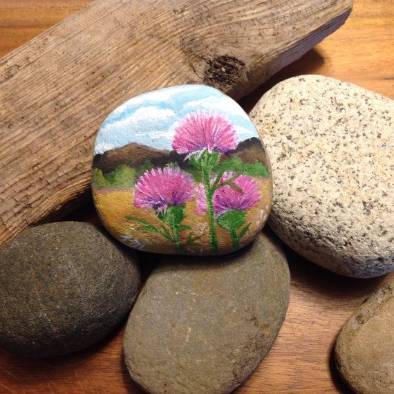 Hand painted landscape - mountain and thistles stone art