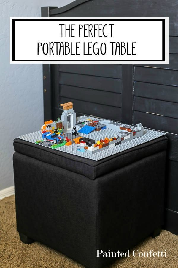 The perfect portable Lego table. Now your child can play Lego's anywhere in the house and clean up quickly!