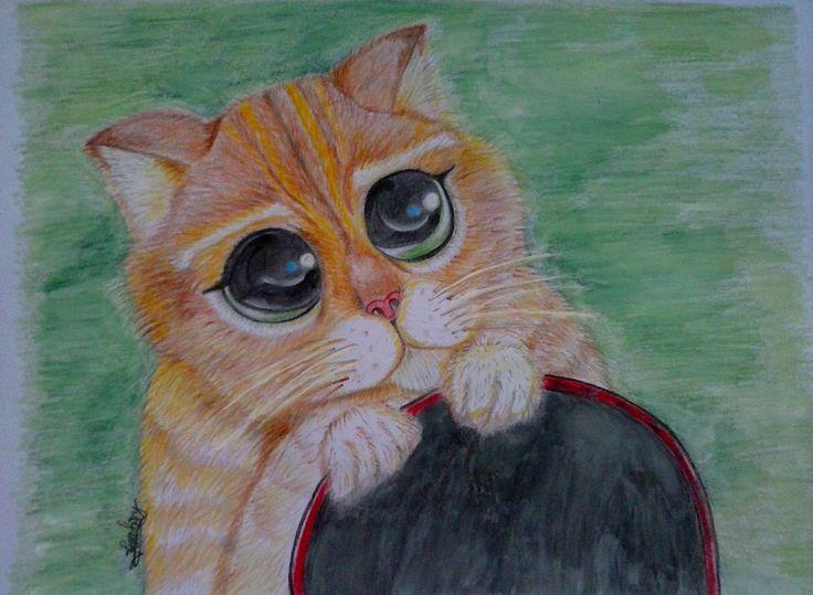Feti Sumaryanti, Feti Xuyan16, lukisan kucing, lukisan pensil warna.