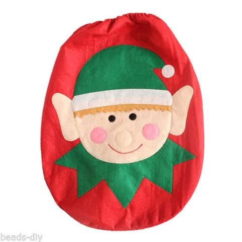BD Cute Elf Red Toilet Seat Cover Bathroom Christmas Decorations Toliet Lid Pad