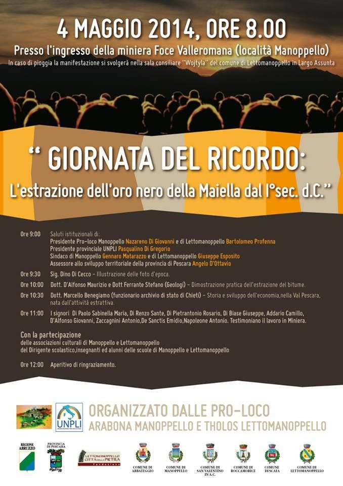 Oro nero della Majella, giornata del ricordo dell'attività estrattiva a Manoppello | L'Abruzzo è servito | Quotidiano di ricette e notizie d'Abruzzo