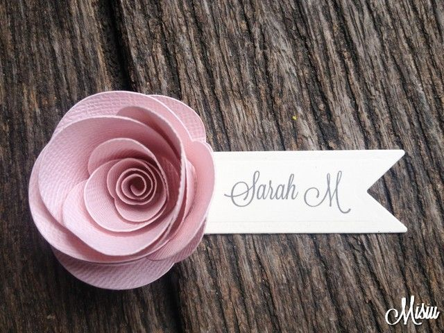Give your wedding a lovely feel with these gorgeous 3D handmade Rose Placecards     In your package you will receive 20 Personalised Place Card Settings with your guests names created using a quality pastel pink cardstock with a cream name tag in grey font.     All we need is your guest list and we'll take care of the rest!       Current production time is 2 weeks, if your order is urgent please contact us.     Want a different colour?  Contact us with your requirements!