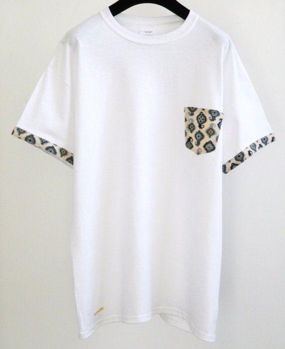 Men's Aztec Pattern White Pocket TShirt Men's T by HeartLabelTees, £13.99