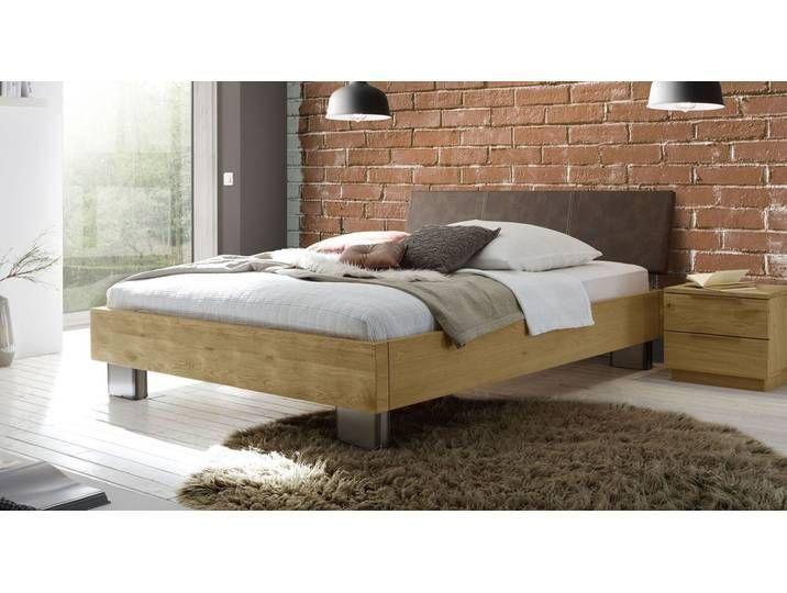 Bett 200x210 cm in Eiche mit rustikaler Oberfläche ...