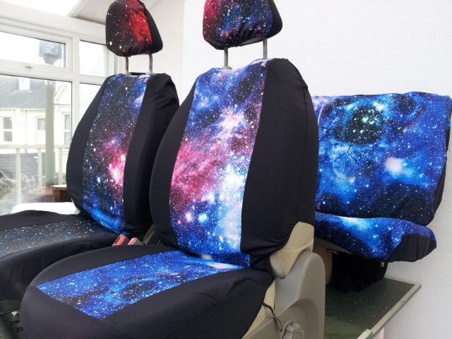 Car seat covers; front and rear covers: Galaxy print, english printed fabric of the milky way with 4 x head rest covers. SPACE 1999 by funkmyseat on Etsy https://www.etsy.com/listing/502106410/car-seat-covers-front-and-rear-covers
