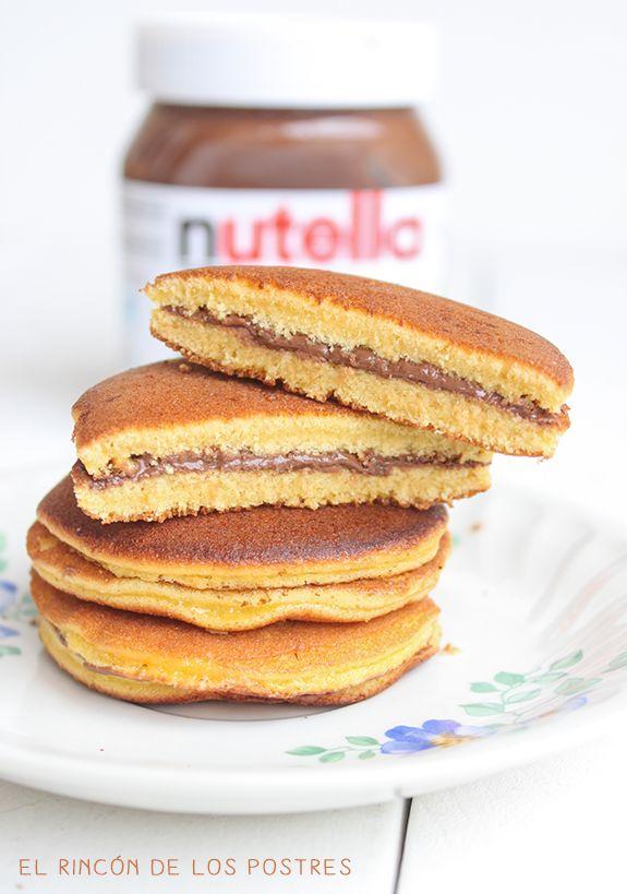 El postre favorito de Doraemon jaja! >> El rincón de los postres: Dorayakis de Nutella