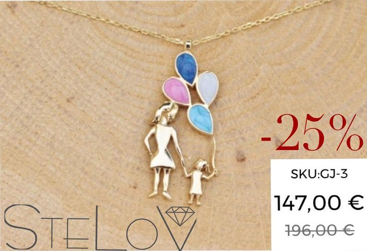 Mother & daughter necklace in 14K yellow gold. -25% for a few hours!!!  #stelov #slv #jewelry #accessories #shoponline #worldwideshipping