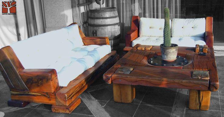 """Nativo Red Wood. Mesa de centro linea """"Line Wood"""" con cubierta de madera de Roble Rústico de 3'' de espesor con plato de fierro central y patas pasadas con flejes de fierro forjado. Dimensiones: 1.20x1.40 www.facebook.com/nativoredwoodsa"""