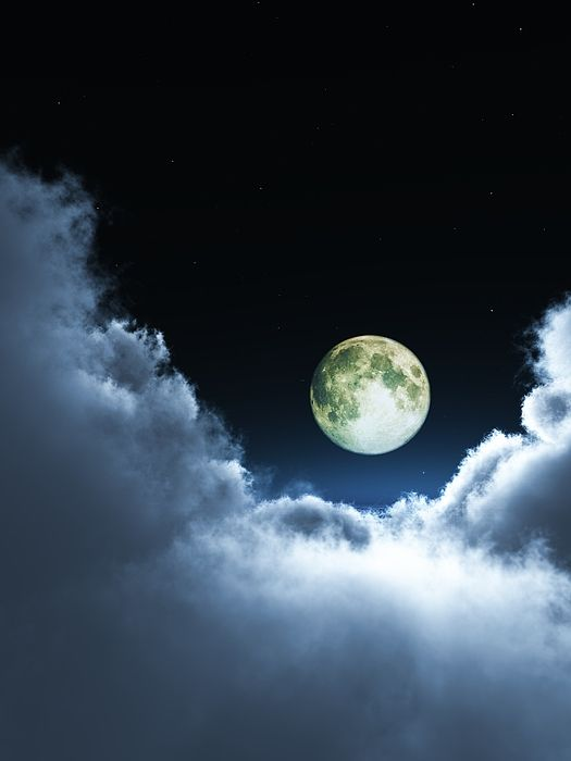 "Bildwerk ""Moon over clouds"""