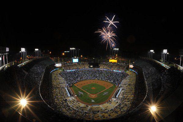 Friday Night Fireworks light the sky over Dodger Stadium