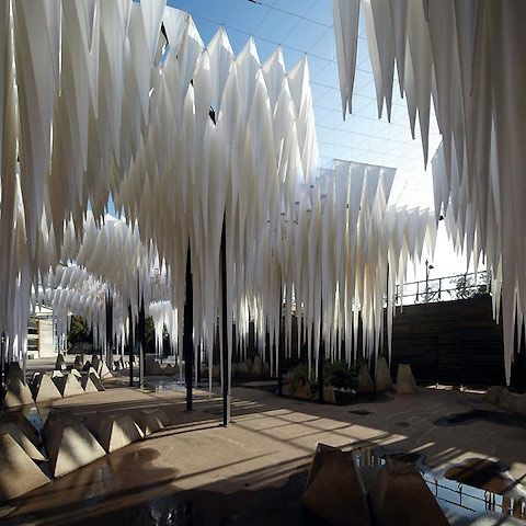 The Water Cathedral in Santiago, Chile, is born from the Young Architects Program that coaxes outdoor installations with shade, seating and water from emerging architects. This installation features white sand-filled fabric bags with a topography of stalagmites.