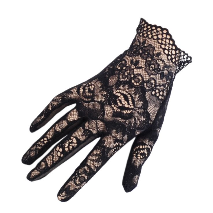 gloves   Home Short Black Lace Scalloped Gloves