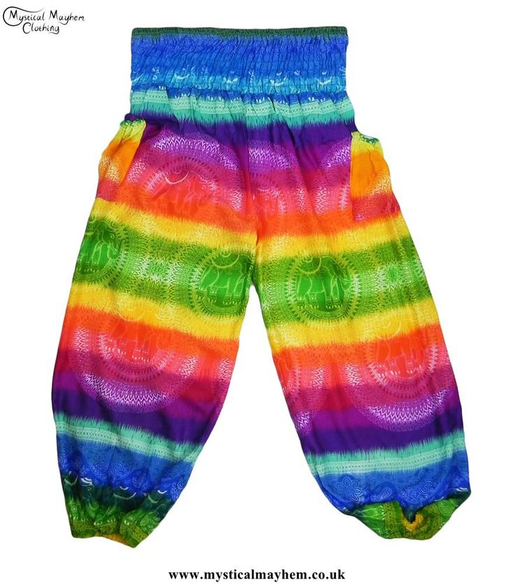 Bright, fun and colourful Multicoloured Hippy Style Harem Genie Trousers from Mystical Mayhem Hippy Clothing https://www.hippyclothinguk.co.uk/product-category/trousers/harem-genie-trousers/