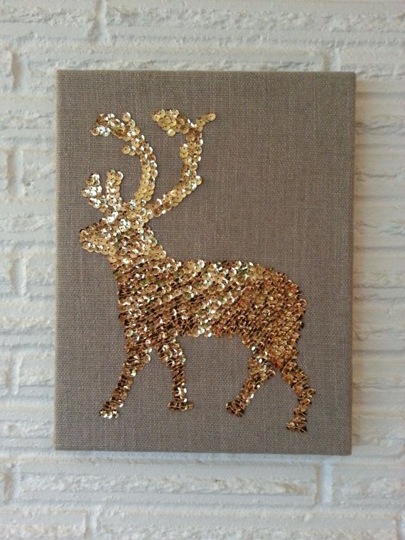 "Gold Sequins Deer Silhouette Canvas Art /  14""x 11"" canvas / Stretched linen"