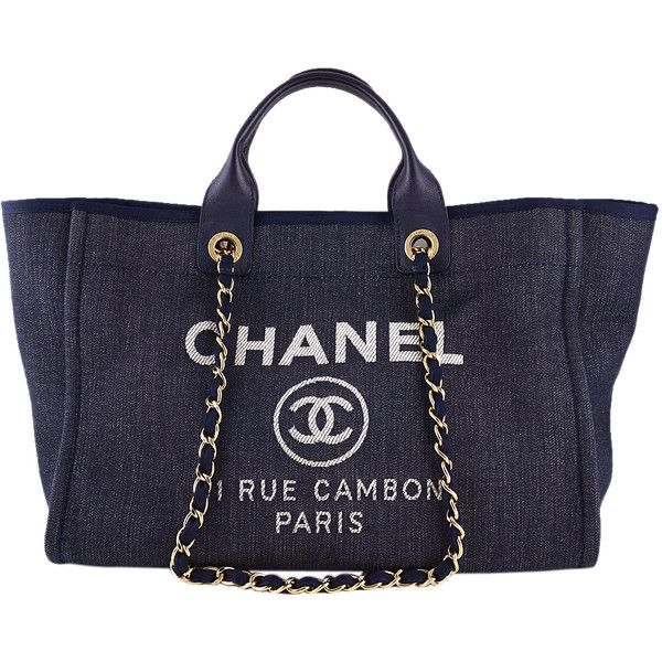Pre-Owned Chanel Dark Blue Deauville GM Denim Two-Way Beach Tote Bag found on Polyvore