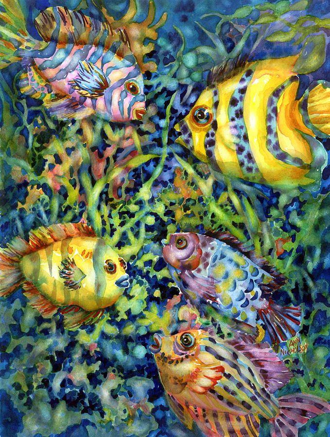 Fish Tales Watercolor print by ann nicholson  buy her prints at fineartamerica.com