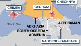 Map of Abkhazia, South Ossetia, Armenia, and Azerbaijan. Also includes Crimea, Georgia, and Chechnya, as well as Nagorno-Karabakh.