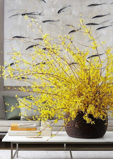 Arranging forsythia - To help keep the branches in place, cut chicken wire to fit inside the vessel and then arrange the branches.