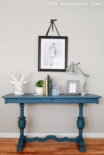 The Weathered Door: Before & After: Antique Library Table in Homestead Blue