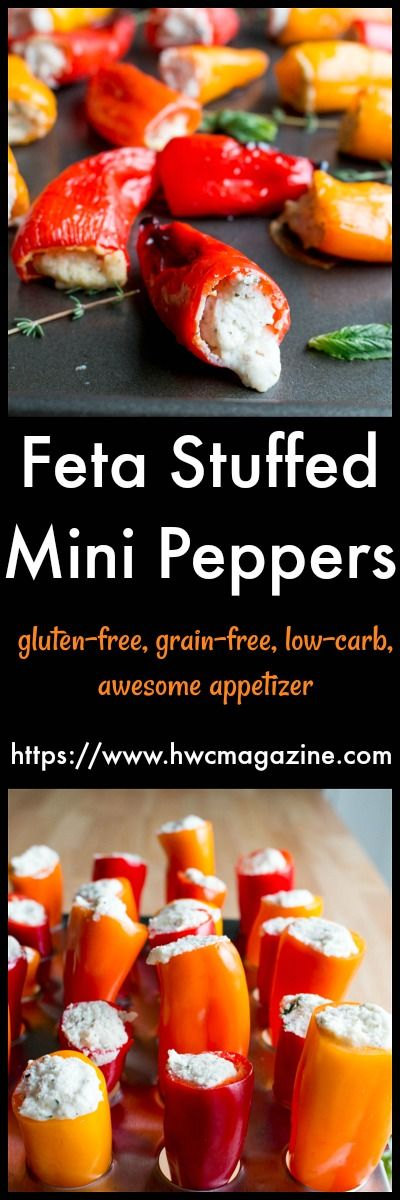 Feta Stuffed Mini Peppers / LOW-CARB/ GRAIN-FREE/ VEGETARIAN/ AWESOME APPETIZER/ https://www.hwcmagazine.com