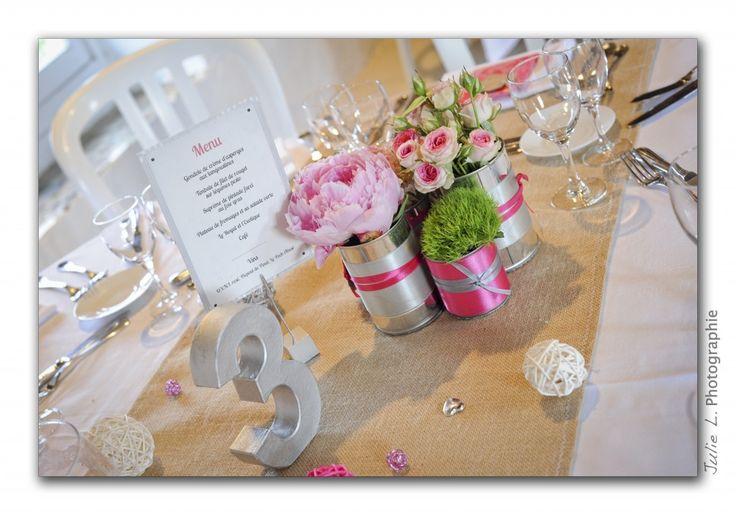 Déco mariage champêtre chic rose et gris