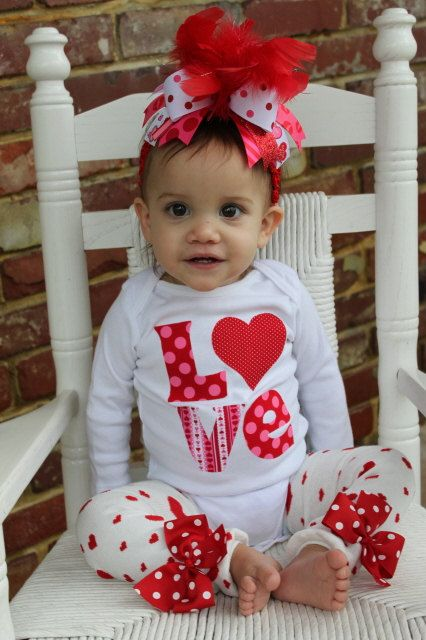 Valentine Outfit SET  My Little Valentine  by DarlingLittleBowShop