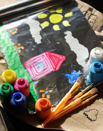 1/2 cup of tempera paint, 1 tsp liquid dishwashing soap, paint on foil wrapped cardboard to make fun paint project for kids
