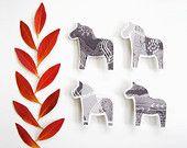 Swedish Dala Horse Magnets - Set of 4 - Scandinavian Nordic Kitchen Home Decor - Black White Gray - Monochromatic