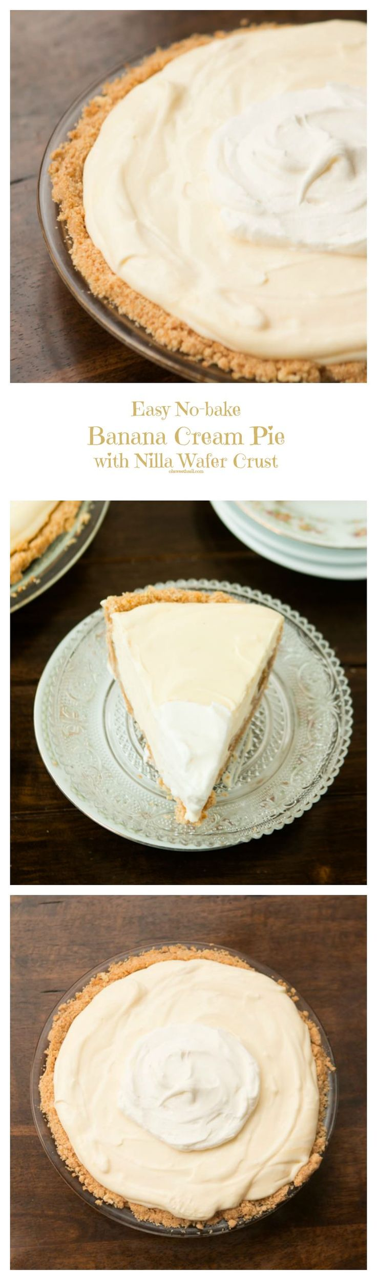 Easy No Bake Banana Cream Pie with Nilla Wafer Crust ohsweetbasil.com