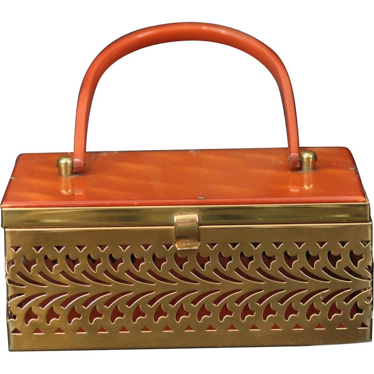 Vintage 1950's Brass Filigree Pierced Metal Rectangular Box Purse Accented with Butterscotch Lucite on RubyLane.com