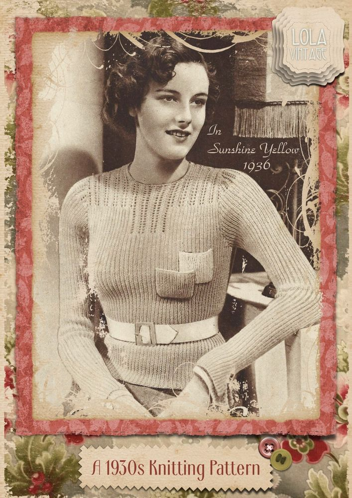 44382f068 Vintage 1930s Knitting Pattern Lady s Lacy Yoke Ribbed Jumper Top ...