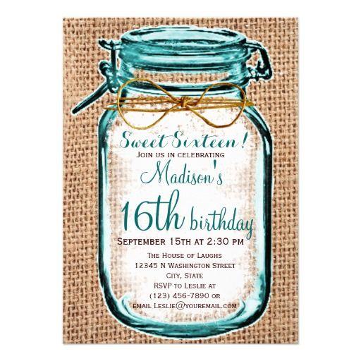 Rustic Country Mason Jar Birthday Invitation SOLD on Zazzle