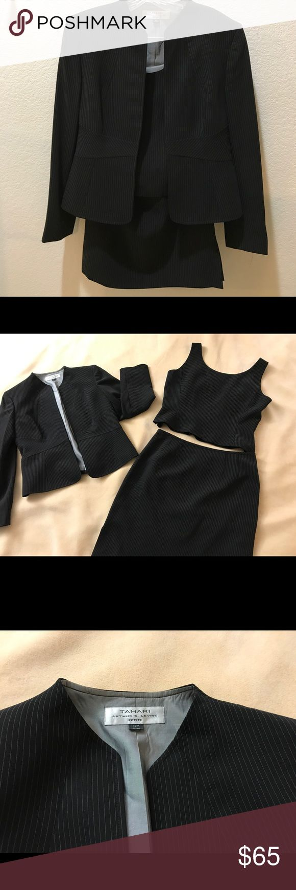 3-piece Tahari Ladies Suit. Handsome 3-piece suit with skirt. Black pinstriped. Great look for work. Never worn. Excellent condition. Elie Tahari Other