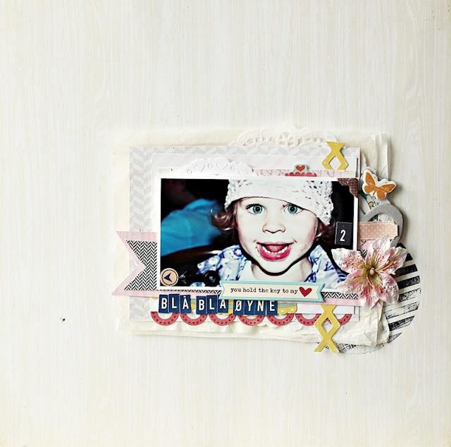 UmeNorskans scrapbookblogg: Blå blå øyne. Challenge by Petra Ofrell. Using Crate Paper. Christin Gronnslett