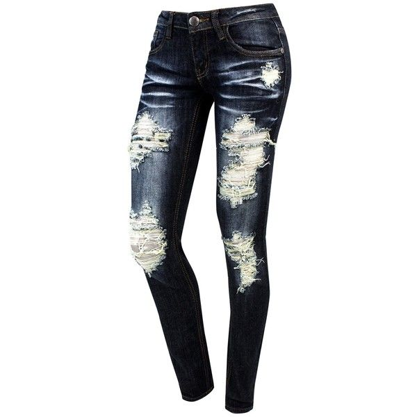 Dark Denim Destructed Skinny Jean (2.830 HUF) ❤ liked on Polyvore featuring jeans, pants, bottoms, skinny jeans, zipper skinny jeans, destroyed skinny jeans, distressed jeans and ripped skinny jeans