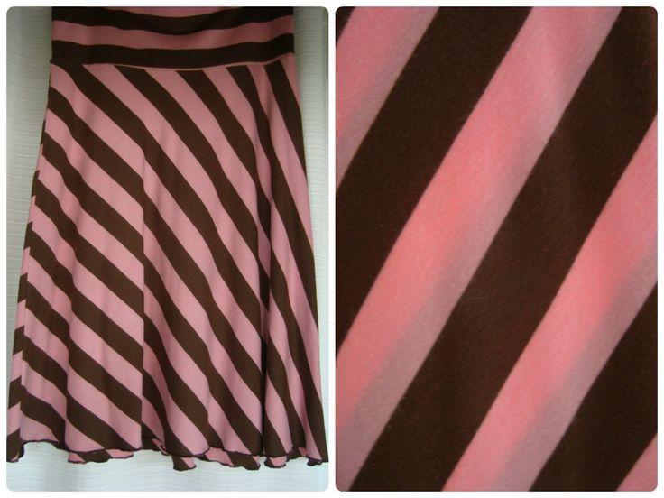 ♔ #Falda de #modal rayada rosa y marrón ♔ Talle único $100