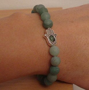 Hamsa bracelet - Stretch bracelet - Aventurine bracelet