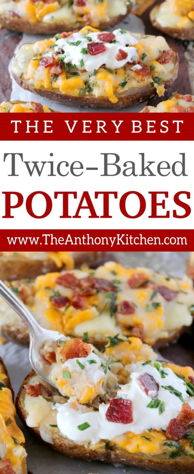 Easy Twice-Baked Potatoes | How to make the best twice-baked potatoes with cream cheese, Cheddar cheese, bacon, and chives! The recipe also includes instructions for make-ahead twice-baked potatoes | #potatorecipes #makeahead #potatoes #sidedish