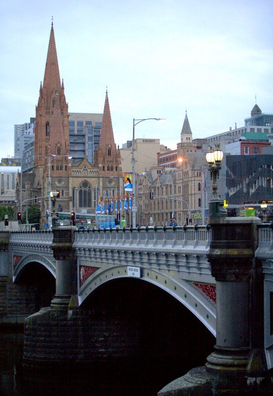 View toward St Paul's Cathedral, Flinders and Swanston Streets Melbourne From the Yarra River