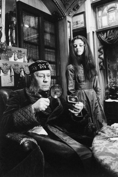 Sir Michael Redgrave (The Caterpillar) and Anne-Marie Mallik (Alice) in Jonathan Miller's Alice in Wonderland (1966). This scene was filmed inside Sir John Soane's Museum in London.