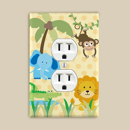 Outlet Cover Plate  Safari Jungle Zoo Animals for by potatopatch, $6.95