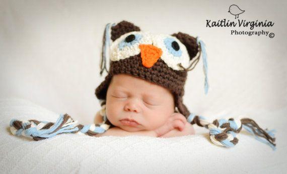 Brown Crochet Owl Hat by honeybeehats on Etsy, $22.50