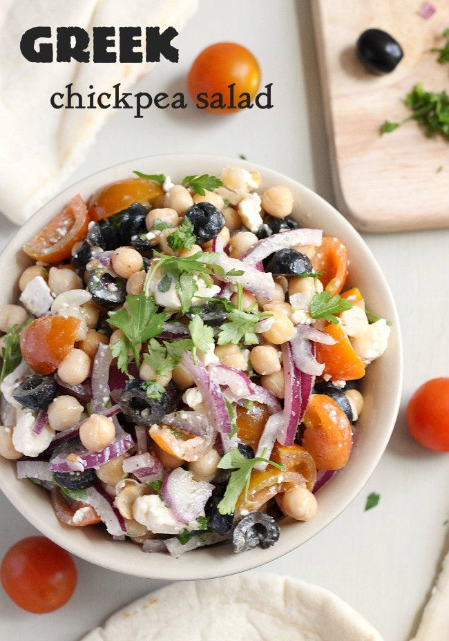 Greek chickpea salad with feta and olives - all the flavours of a tasty Greek salad, but with more protein (and less lettuce!)