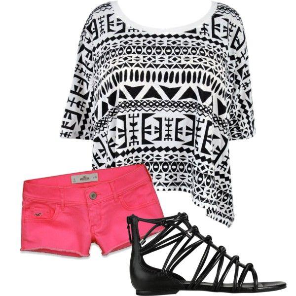 So cuteBy Pinterest, Beach Fun, Summer Outfit, Pink Outfit, Black And White, Black White, Black Sandals Outfit, Pink Shorts Outfit, Pink Black