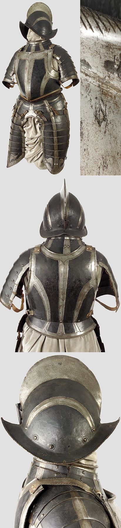A black and white half-armour  Nuremberg, circa 1580/90 -(But this looks Spanish, like the ones worn by the ones who came to the Americas)..