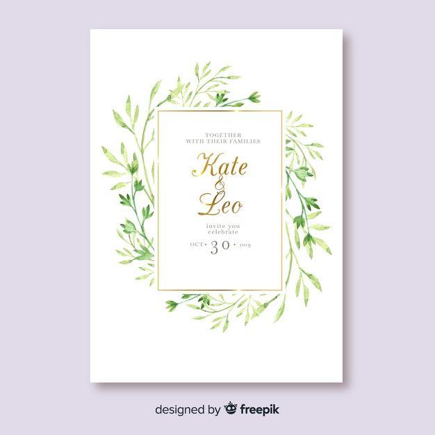 水彩葉結婚式招待状のテンプレートを無料でダウンロード ウェディングカード 結婚式 招待状 花 結婚式 招待状