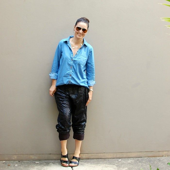 Dress down sequinned pants with a chambray shirt and casual shoes.