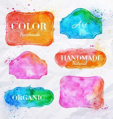 Creative watercolor labels vector 01 free