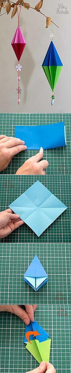 Украшения из бумаги для елочки в технике оригами
