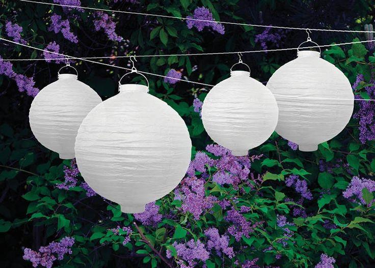 Wholesale White Paper Lantern With Bulb - 20 cm
